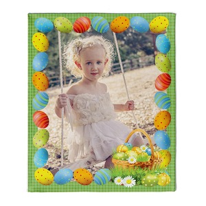 "NEW!!! Personalized Easter Egg Border Fleece 50"" x 60"" Throw Blanket"