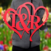 Personalized Painted Intertwined Metal Heart Monogram with Initials