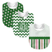 Monogrammed 'Dream' Pink and Green 3 Piece Baby Bib Set (Instructions in Description)