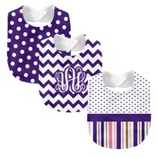 Monogrammed 'Dream' Pink and Purple 3 Piece Baby Bib Set (Instructions in Description)