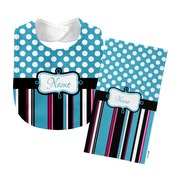 Monogrammed Blue 'Presley' Baby Bib with Matching Monogrammed Burp Cloth