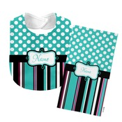 Monogrammed Teal 'Presley' Baby Bib with Matching Monogrammed Burp Cloth