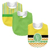 Monogrammed Melon Days Yellow  3 Piece Baby Bib Set (Instructions in Description)