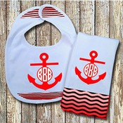 Monogrammed Red 'Anchor' Baby Bib with Matching Monogrammed Burp Cloth (Instructions in Description)