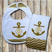 Monogrammed Sage 'Anchor' Baby Bib with Matching Monogrammed Burp Cloth (Instructions in Description