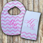 Monogrammed  Pink 'Prissy' Baby Bib with Matching Monogrammed Burp Cloth
