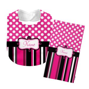 Monogrammed  Hot Pink 'Presley' Baby Bib with Matching Monogrammed Burp Cloth Thumbnail
