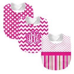 Monogrammed 'Dream' Hot Pink 3 Piece Baby Bib Set Thumbnail