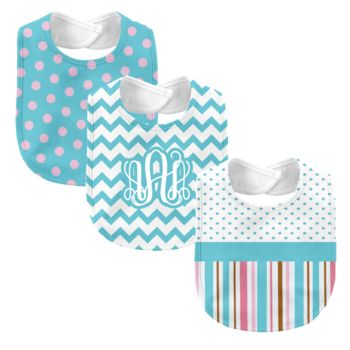 Monogrammed 'Dream' Pink and Blue 3 Piece Baby Bib Set  Thumbnail