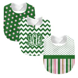 Monogrammed 'Dream' Pink and Green 3 Piece Baby Bib Set  Thumbnail