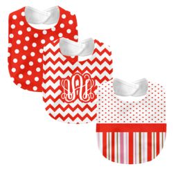Monogrammed 'Dream' Pink and Orange 3 Piece Baby Bib Set  Thumbnail