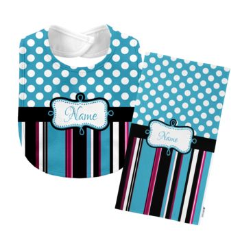 Monogrammed Blue 'Presley' Baby Bib with Matching Monogrammed Burp Cloth Thumbnail