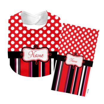 Monogrammed  Red 'Presley' Baby Bib with Matching Monogrammed Burp Cloth Thumbnail