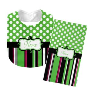 Monogrammed  Green 'Presley' Baby Bib with Matching Monogrammed Burp Cloth Thumbnail