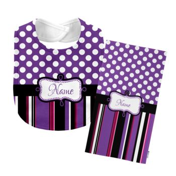 Monogrammed Purple 'Presley' Baby Bib with Matching Monogrammed Burp Cloth Thumbnail