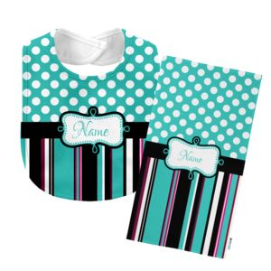 Monogrammed Teal 'Presley' Baby Bib with Matching Monogrammed Burp Cloth Thumbnail