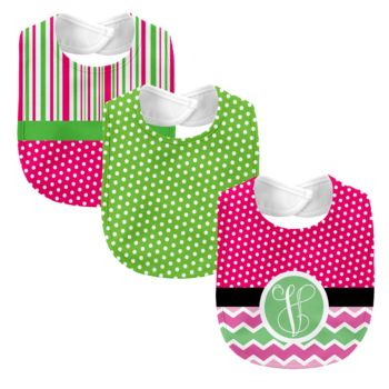 Monogrammed Melon Days Hot Pink 3 Piece Baby Bib Set  Thumbnail