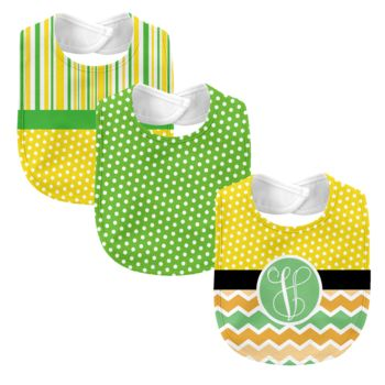 Monogrammed Melon Days Yellow  3 Piece Baby Bib Set  Thumbnail