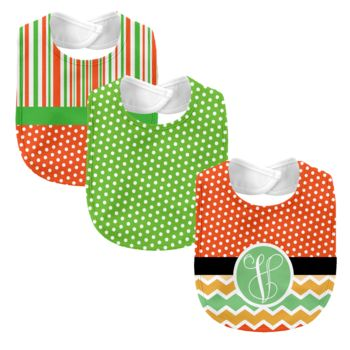 Monogrammed Melon Days Orange 3 Piece Baby Bib Set Thumbnail