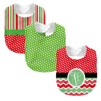 Monogrammed Melon Days Red 3 Piece Baby Bib Set  Thumbnail