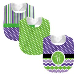Monogrammed Melon Days Purple 3 Piece Baby Bib Set Thumbnail