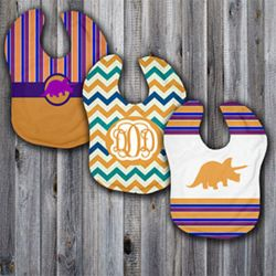 Monogrammed Dinomyte Orange 3 Piece Baby Bib Set Thumbnail