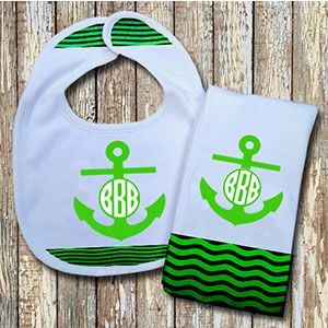 Monogrammed Green 'Anchor' Baby Bib with Matching Monogrammed Burp Cloth Thumbnail