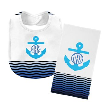 Monogrammed Blue 'Anchor' Baby Bib with Matching Monogrammed Burp Cloth Thumbnail