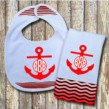 Monogrammed Red 'Anchor' Baby Bib with Matching Monogrammed Burp Cloth (Instructions in Description) Thumbnail