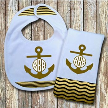 Monogrammed Sage 'Anchor' Baby Bib with Matching Monogrammed Burp Cloth (Instructions in Description Thumbnail
