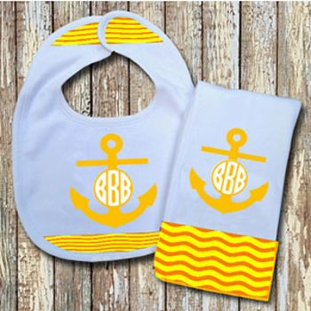 Monogrammed Yellow 'Anchor' Baby Bib with Matching Monogrammed Burp Cloth (Instructions in Descripti Thumbnail