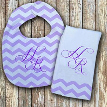 Monogrammed Purple 'Prissy' Baby Bib with Matching Monogrammed Burp Cloth Thumbnail