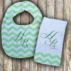 Monogrammed Mint Green 'Prissy' Baby Bib with Matching Monogrammed Burp Cloth Thumbnail