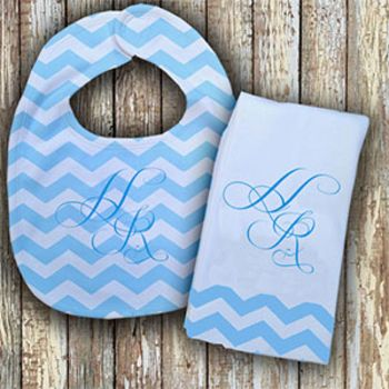 Monogrammed Blue 'Prissy' Baby Bib with Matching Monogrammed Burp Cloth Thumbnail