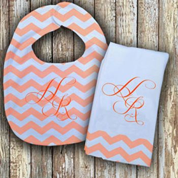 Monogrammed Peach 'Prissy' Baby Bib with Matching Monogrammed Burp Cloth Thumbnail