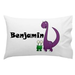 Monogrammed Purple Dinosaur and Frog Pillowcase 30