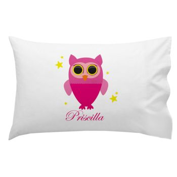 Monogrammed Pink Owl with Stars Pillowcase 30