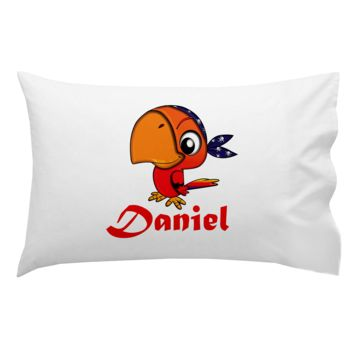 Monogrammed Big Red Pirate Bird Pillowcase 30