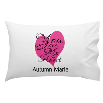 Monogrammed You Are My Heart Pillowcase 30