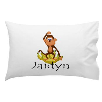 Monogrammed Monkey and Bananas Pillowcase 30