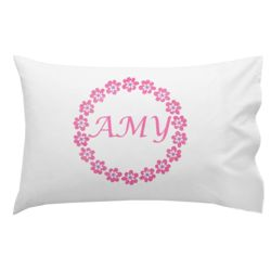 Monogrammed Flower Wreath Pillowcase 30