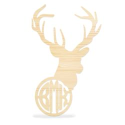 Wooden Deer Head with Monogram Wall Decor  Thumbnail