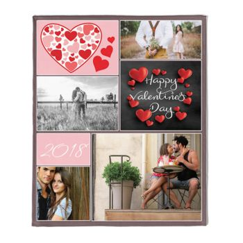 Personalized Valentines Day Photo Blanket Collage Block Thumbnail