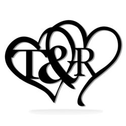 Personalized Painted Intertwined Metal Heart Valentine's Day Monogram with Initials - 14