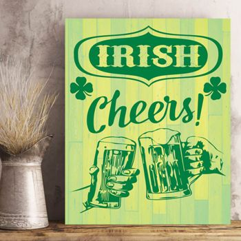 St. Patrick's Day Irish Cheers Photo Print on Metal or Wood. Thumbnail