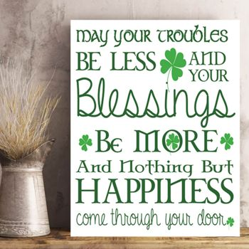 St. Patrick's Day Traditional Irish Blessing Photo Print on Metal or Wood. Thumbnail