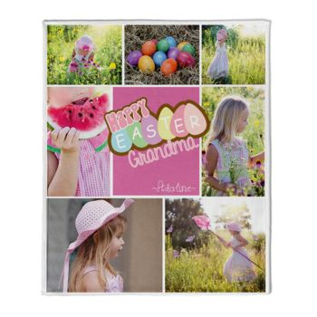 NEW!!! Personalized RETRO HAPPY EASTER Block Photo Collage Fleece 50