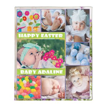 NEW!!! Personalized HAPPY EASTER Baby Block Photo Collage Fleece 50