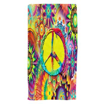 Groovy Peace Sign Oversized Beach Towel 30