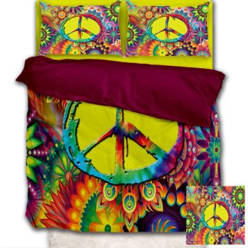 NEW!! Groovy Peace Sign Duvet Cover - Queen Thumbnail